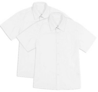 Boys 2 PACK BHS Fabric Protector Non Iron Slim Fit Short Sleeve School Shirt