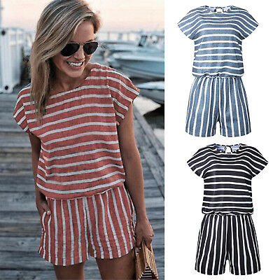 Womens Striped Holiday Mini Jumpsuit Summer Ladies Playsuit Casual Top Dress New