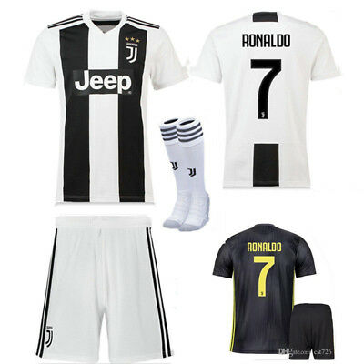 18/19 Football Soccer Ronaldo Home/Away Kit+Socks Short Sleeve 2-13 Yrs Kid Boy