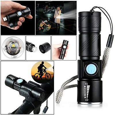 Rechargeable USB Ultra Bright LED Torch with Beam Focusing Flashlight 4x Zoom XX