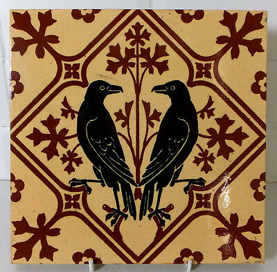 "8"" Minton Gothic Revival Tile by A.W.N. Pugin depicting Ravens"