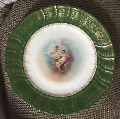 Vintage Aglaia & Cherub Hand Painted Porcelain Charger/Cabinet Plate 12.5""