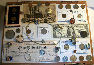 Junk Drawer Lot- Old Coins Found - Silver Certificate, Indian Head Buffalo Coins