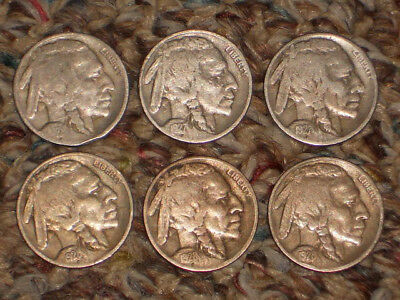 1926p,1927p,1927D,1928p,1928D,1928S, Buffalo Nickels, Circulated Lot of 6