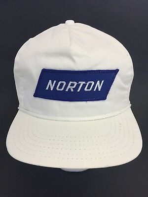 Vintage Norton White Patch Hat Cap Snapback Trucker Made in USA Motorcycle