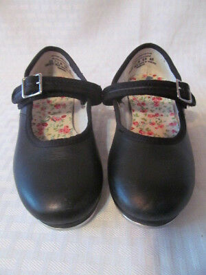 Girls CAPEZIO Slip-On Black Leather Tele Tone Tap Dance Shoes 10.5 M 3800T