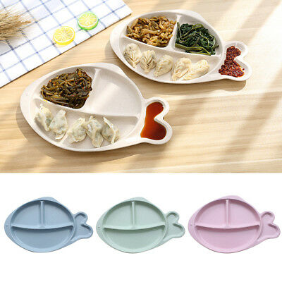 4 Compartments Fish Children Baby Dinner Food Plate Snack Serving Dish Funny
