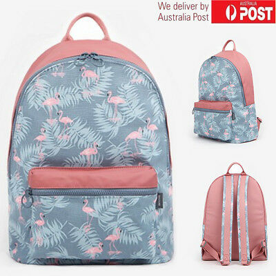 Flamingo Women's Backpack School Travel Rucksack Girls Satchel Shoulder Bag AU