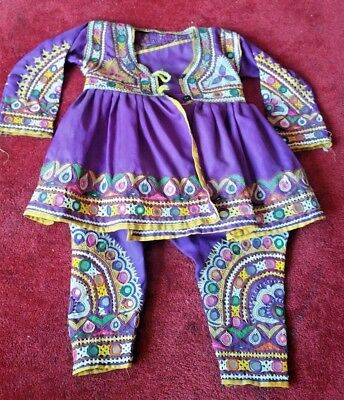 Child Baby Tribal India Banjari embroidered mirrored set top and harem trousers