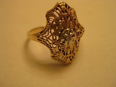 VINTAGE 14 K  Yellow GOLD FILIGREE & DIAMOND WOMENS RING - SZ 7 1/2