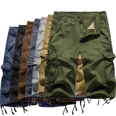 AU Stock Mens Casual Cargo Pants Shorts Trousers Cotton Military Army Combat