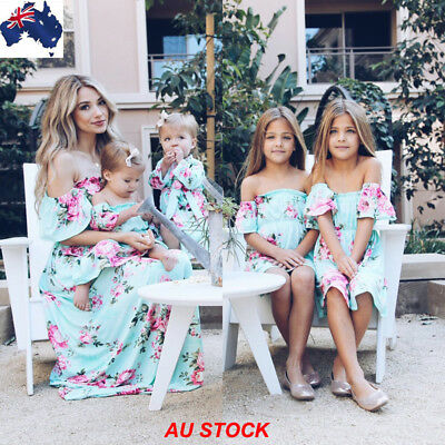 AU Family Matching Clothes Women Girl Mother Daughter Party Maxi Dress Clothes