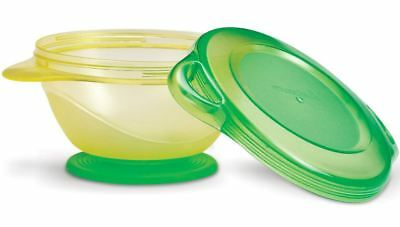 Munchkin Baby Click Lock Super Suction Feeding Bowl Container Yellow and Green