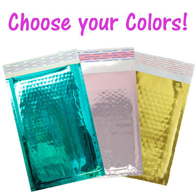 "500 Pack 4x8"" Teal, Gold, Rose Gold, Metallic Wholesale Bubble Mailer Envelopes"