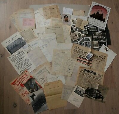 WW2 German house clearance ca 45 documents, newspapers & 30 photos, INTERESTING!