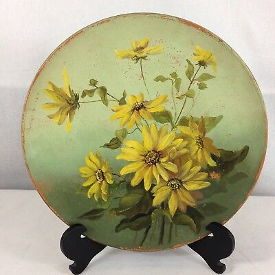 Vintage Watcombe Pottery Hand Painted Charger Yellow Flowers 27cm Diameter