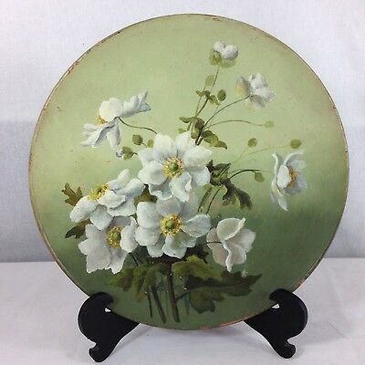 Vintage Watcombe Pottery Hand Painted Charger White Flowers 27cm Diameter