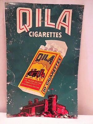 Vintage Qila Cigarettes Tin Advertising Sign Tobacciana Smoking Old Collectibles