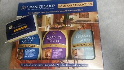 Granite Gold Home Care Collection- Natural Stone 2 Cleaners & Polish + sponge