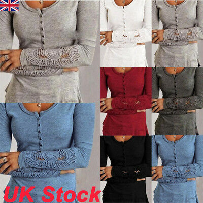 UK Womens Lace Long Sleeve Casual T Shirt Fashion Ladies Cotton Blouse Tops Size