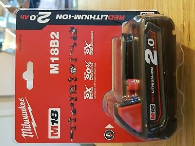 Batterie Milwaukee M18 B2 (18 V/2.0 Ah Li-Ion)