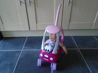 My Little Baby Born Super Soft Doll & Sparkly Pink Cozy Coupe Car Zapf Creations