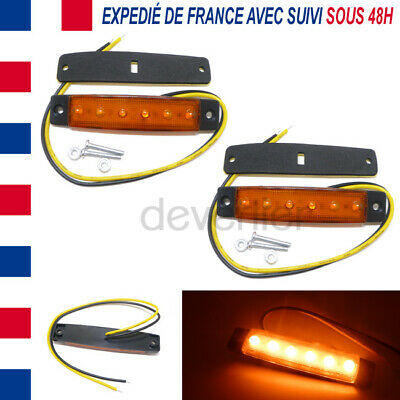 2X Feux Lateral Orange 12V Dc 6 Led Remorque Camion Camping Car Position Gabarit
