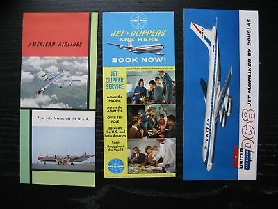 Lot of Three Vintage Airline Brochures 1950s 1960s American United Pan Am