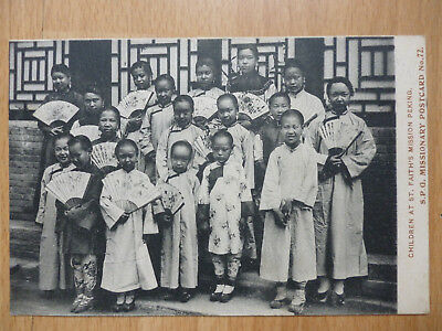 1907 CHILDREN AT ST FAITH'S MISSION PEKING CHINA SPG MISSIONARY POSTCARD No. 72
