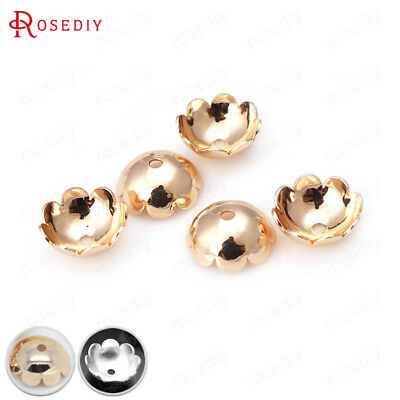 8MM 10MM Quality Gold Color Brass Flower Beads Caps Jewelry Findings Accessories