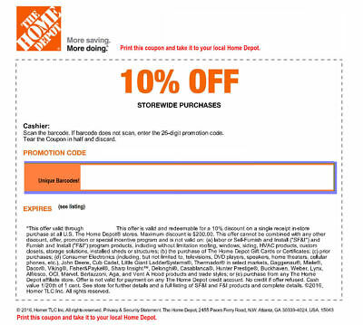 ONE 1x Home Depot 10% Off-1coupon- max saving 200$- In Store Only-
