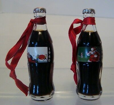 "Lot of 2 CHRISTMAS Coca Cola Mini Bottles Full w/ Ribbon 3 1/8"" Glass 1960 &1961"