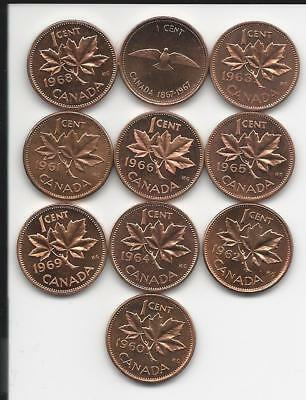 Small Canadian Penny  Set From 1960 To 1969
