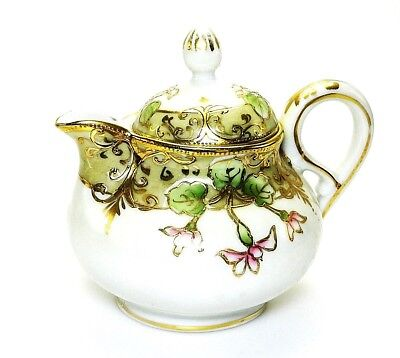 Vintage Nippon Porcelain Teapot Hand Painted with 24K Gold Trim