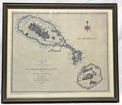 Antiques Caribbean Map St Christopher and Nevis West Indies Magazine Block Print