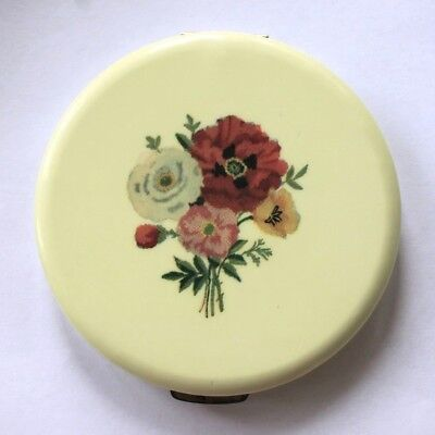 Vintage REX Fifth Avenue Flapjack Yellow Celluloid & Roses Powder Compact