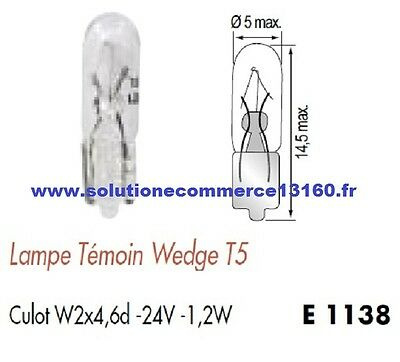 SET OF 10 LAMP BULB WITNESS WEDGE T5 24V 24 Volts 1,2W Base W2x4,6d