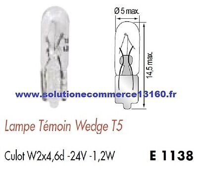 SET OF 2 LAMP BULB WITNESS WEDGE T5 24V 24 Volts 1,2W Base W2x4,6d