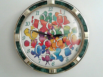 CLOWNFISH WALL CLOCK -Tropical Rainbow FISH - Collectible Vintage - Excellent