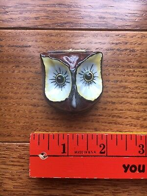LIMOGES FRANCE DECOR MAIN CHAMART OWL FACE PILL OR TRINKET BOX with Original Box