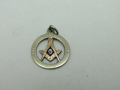 Antique Masonic Compass & Square 10Kt Gold Pendant Badge Charm Mason's
