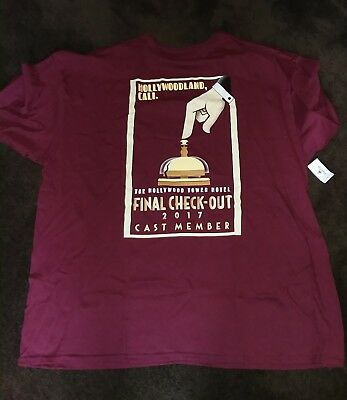 2017 Dca Tower Of Terror Cast Member Final Check-Out T-Shirt Xxxl Mint