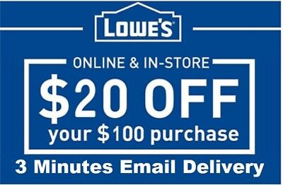 Two 2x Lowes $20 OFF $100 InStore and Online2Coupons-Fast Delivery-------