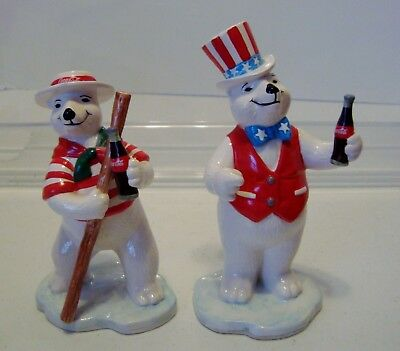 Lot of 2 Coca Cola Around the world Coke Polar Bear Italy,Germany Enesco 1997
