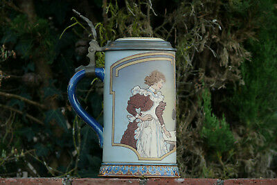 Mettlach Stein - No. 2520 - Pottery - etched -1.0L - Signed by H. Schlitt.