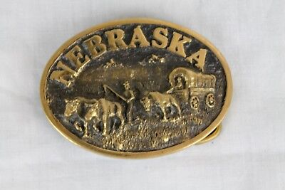 Vintage Nebraska brass belt buckle Pioneer themed Men's Accessories