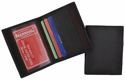 Mens Bifold Leather Slim Credit Card Holder Style ID Mini Brown Thin Wallet New