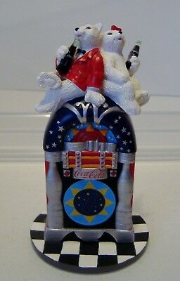 Coke Coca Cola Disco Nights Figure Cavanagh's 2001 Polar Bears  In Box Jukebox