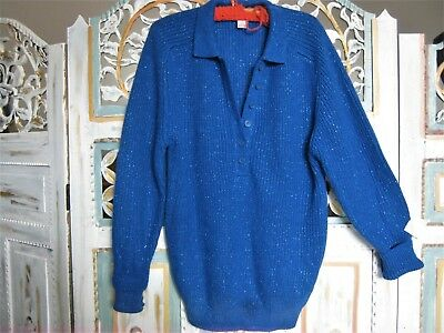 Vintage 'target' Bright Blue Ribbed Jumper With Metallic Thread. 8-12.