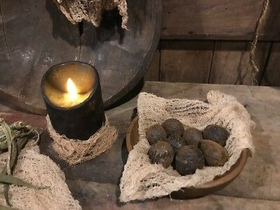 Primitive Blackened Walnuts Wax Dipped Grubby Bowl Filler Homestead FALL Harvest